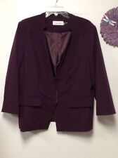 Ladies dress jacket blazer size 16 burgundy metal snap closure Calvin Klein 155