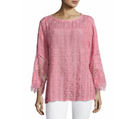 💕 JOHNNY WAS Embroidered MESHA Crochet TUNIC Blouse Eyelets Dolman Pink XS $258