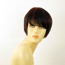perruque femme 100% cheveux naturel courte méchée noir/rouge MARINA 1b410
