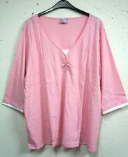 NEU Übergröße schickes Damen Shirt in Doppeloptik rosa weiß 3/4 Arm Gr.56/58
