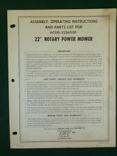 """Western Tool 22"""" Rotary Power Mower Assembly, Operating, Parts Manual 52260100"""