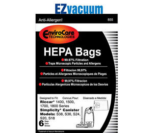 Simplicity Type H Hepa Bags for S38, S36, S24, S20, S18 Series