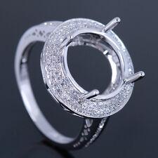 10k White Gold .35ct Diamonds Engagement Wedding Ring Round 12mm Semi Mount