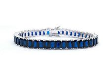 12TCW Emerald Cut Created Blue Sapphire Tennis Bracelet 925 Sterling Silver 6mm