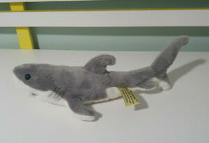 SHARK PLUSH TOY BOCCHETTA STUFFED ANIMAL 32CM LONG 8CM TALL GREY SHARK