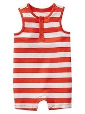 AUTH. BNWT GAP BABY BOYS STRIPE TANK ONE-PIECE (0-3M), DARK ORANGE
