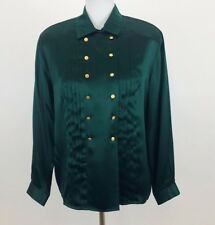 Jones New York 100% Silk Button Down Top Blouse Vintage Shoulder Pad Petite Sz ?