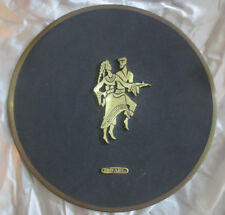 "50+ year old vintage Israeli-made decorative plate 12"" all metal"