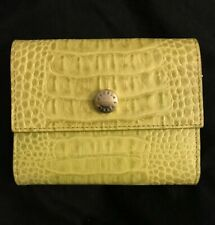 Authentic FURLA Crocodile-Embossed Leather Bifold Wallet Chartreuse Green