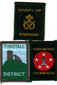 Boy Scout Badges COUNTY of STAFFORD+ Ext STOKE on TRENT + Ext TUNSTALL Dists