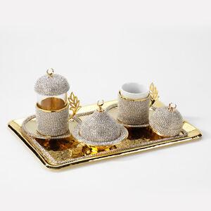 Handmade Copper Turkish Coffee Tea Zamzam Serving Set Swarovski Gold Color