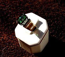 Brazilian Tourmaline/Diamond ring 14 Kt Yellow gold, reduced price