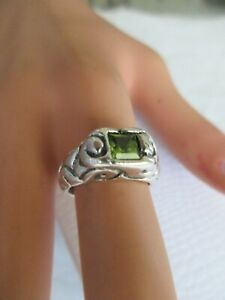 STERLING SILVER RING WITH NATURAL STONE SZ- 6