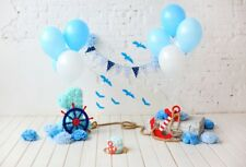 5x3Ft Blue Birthday Theme Wall Photography Background Backdrops Studio Props