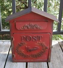 BIG RED Metal Letter MAILBOX*Kitchen/Porch*Primitive/French Country Farmhouse