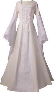 Mittelalter Brautkleid Robe Gewand Kleid Kostüm Elisabeth Ecru-Weiss XS-60