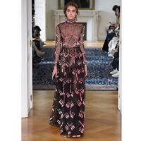 Runway Luxury Elegant Sequins Vintage Princess Queen Prom Long Turtleneck Dress