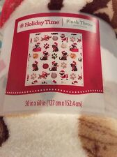 "NEW Holiday Time Plush Throw Dachshund Pug Dogs Paw Print Blanket 50"" X 60"""