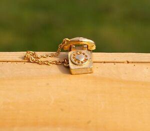 "Rotary Telephone Phone Hand Set Gold Tone Metal & Enamel 5/8"" Pin Pinback Avon"