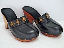 CALLEEN CORDERO black leather metal studded clogs mules size 9