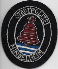 Polizei BAYERN Stadtpolizei  MINDELHEIM  Abzeichen handgest. Patch StaPo 60er J.