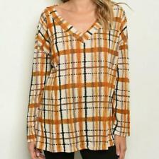 Mustard Orange Caramel Plaid Top Shirt