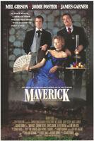 MAVERICK MOVIE POSTER Original N.Mint SS 27x40 MEL GIBSON JODIE FOSTER