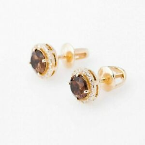 Gold stud earrings with rauchtopaz 14K 585 Russia