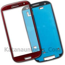 Schermo Vetro per Samsung Galaxy S3 I9300 Rosso Touch Screen Biadesivo