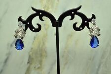 SILVER PLATED DANGLING CLEAR & BLUE CZ RIBBON DESIGN POST EARRINGS #X20249