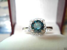 ENHANCED BLUE DIAMOND ENGAGEMENT RING 1.15CT HANDMADE BRIDAL RING 14K WHITE GOLD