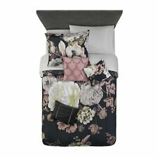 Mainstays Black Floral 8 Piece Bed in a Bag Bedding Set w/ Sheet Set Twin/TwinXL