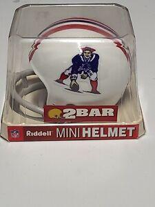 New England Patriots NFL Riddell 2 BAR Throwback Mini Helmet Pat Patriot Logo