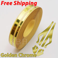 "12mm 1/2"" Double Pin Striping Stripe Vinyl Tape Decal Sticker Car Gold Chrome"