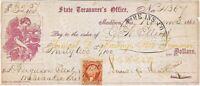 CIVIL WAR 1865 Samuel Hastings, Wisconsin State Treasurer, Signed Draft