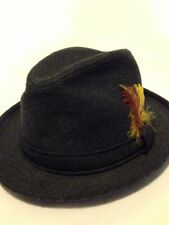 Fedora Vintage Fur Felt Small 21 Inch Dia Gray Charcoal Hat With Feather Cap