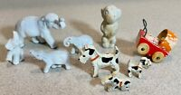Antique Toy Lot Wooden Dog Elephant Figurines Baby Carriage       LS