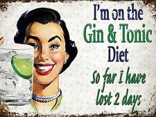 Gin & Tonic Retro Vintage Aluminium Sign Pub Bar Man Cave Funny Kitchen Plaque