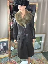 Vintage Brown Leather Trench Coat Raccoon Fur Collar Made By Drazen's 1960s