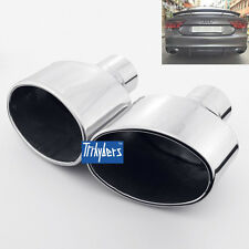 "2.5"" inlet oval exhaust tip muffler Stainless steel slanted rolled edge 8"" long"