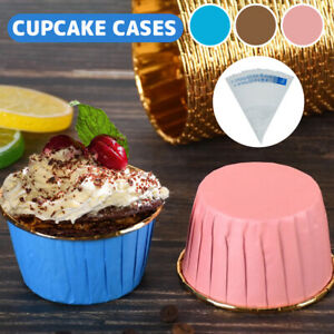 60Pcs Paper Cupcake Cup Cake Foil Metallic Cases Liners Muffin Baking Tools