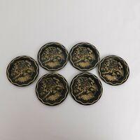 "Set Of 6 Alaska State Tin Metal Souvenir Coasters Black Gold Map 3.5"" Vintage"