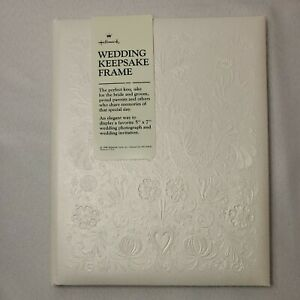 1986 Vintage Hallmark Wedding Keepsake Photograph Album White Embossed Open Box