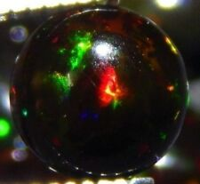 ETHIOPIAN BLACK FIRE OPAL 4 MM ROUND CABOCHON CALIBRATED ALL NATURAL
