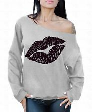 LIPS Black Off the shoulder oversized slouchy sweater sweatshirt