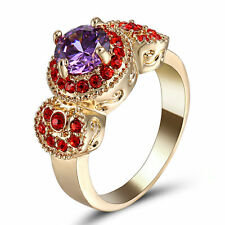 Luxury Women Amethyst Red Gems Yellow Gold Filled Fashion Jewelry Ring US Size 8
