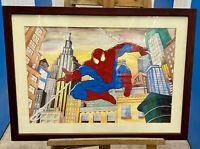 Original Acrylic Painting Framed And Signed Spiderman 75cm