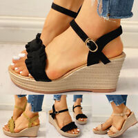 Women Platform Wedge Heels Sandals Ladies Summer Casual Ankle Strap Summer Shoes