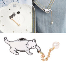 Little White Imitation Pearl Cat Brooch Clothing Badge Metal Pins Jewelry New