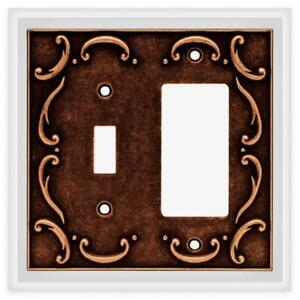 Switch Dedorator Wall Plate Sponged Copper French Lace Brainerd 64248